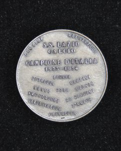 """1974, medaglia """"Zecca del Tesoro scudetto Lazio 1974"""", retro"""